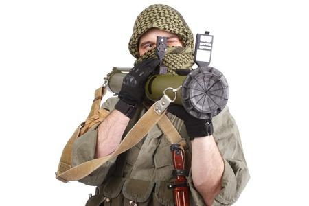 keffiyeh: insurgent wearing keffiyeh  with anti-tank rocket launcher isolated on white Stock Photo