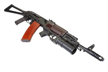ak 74: Kalashnikov AK 74  with GP-25 grenade launcher isolated on white