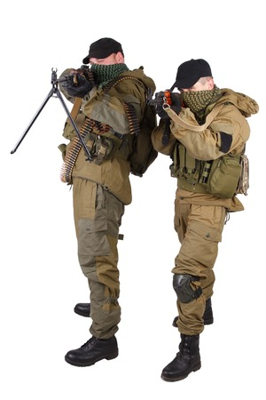 insurgents with AK 47 and RPD machine gun isolated on white background Stock Photo