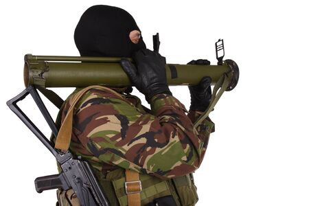 sektor: Ukrainian volunteer with grenade launcher RPG isolated on white Stock Photo