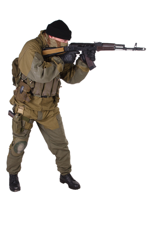 shooter: shooter with rifle isolated on white background