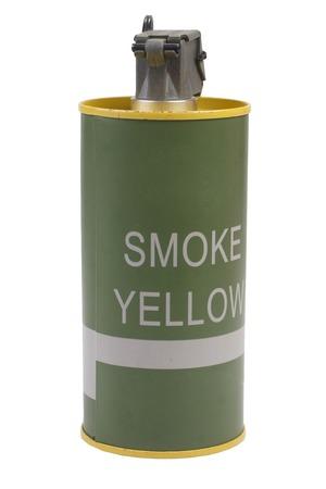 frag: M18 Yellow Smoke Grenade isolated