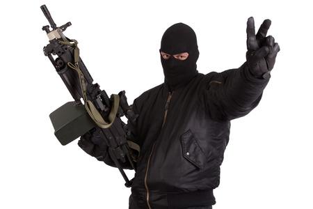 machine gun: insurgent with machine gun isolated