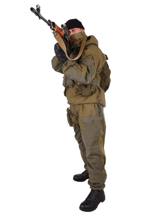 sniper: sniper with SVD sniper rifle isolated on white background