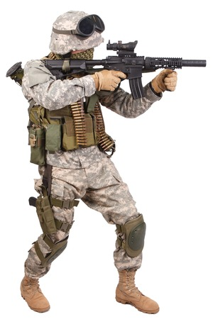 militant: US soldier with rifle on white background Stock Photo