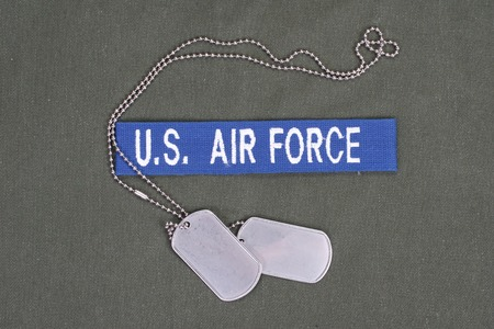 us air force: KIEV, UKRAINE - Mar. 29, 2015. Illustrative editorial. US AIR FORCE uniform with blank dog tags