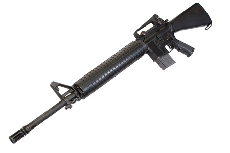 m16: US Army M16 rifle isolated on a white background Stock Photo
