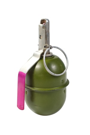shrapnel: green hand grenade isolated on a white background