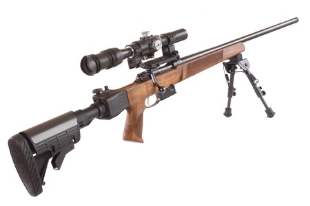 sniper: Sniper rifle on bipod isolated on white background Stock Photo