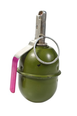 munition: green hand grenade isolated on a white background