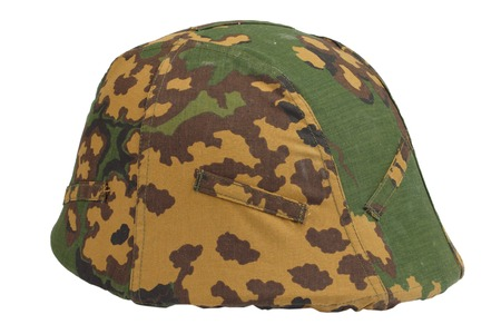 kevlar: kevlar helmet with a camouflage cover Stock Photo