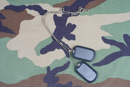 camouflaged: us army woodland  camouflaged uniform with blank dog tags background