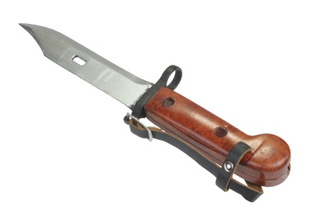 bayonet: AK 47 bayonet with saw isolated on white