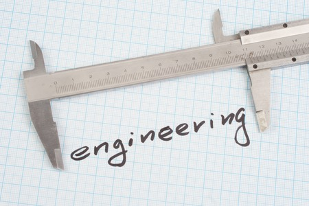 graph paper: engineering - Screw and  Nuts on  graph paper background