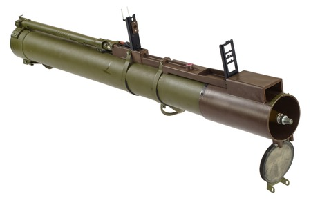 propelled: anti-tank rocket propelled grenade launcher bazooka  isolated on white