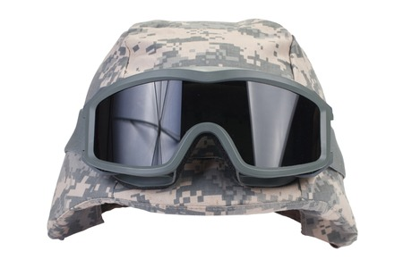 protective goggles:  helmet with a camouflage cover and protective goggles isolated on white background Stock Photo