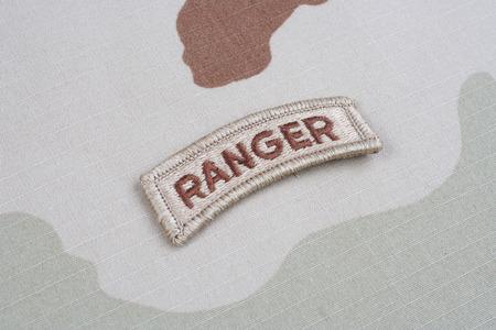 tab: KIEV, UKRAINE - May 18, 2015. US ARMY ranger tab on camouflage uniform