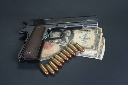 45 gun:  M1911 on black background Stock Photo