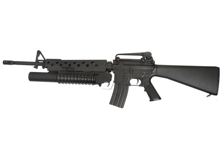 m16: An M16 rifle equipped with an M203 grenade launcher isolated on white background