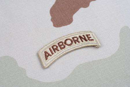 airborne: KIEV, UKRAINE - May 18, 2015.  US ARMY airborne tab on camouflage uniform