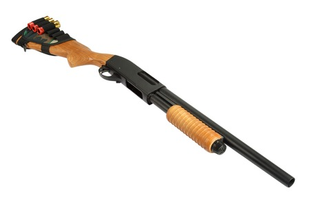 ammo: pump action shotgun with butt stock ammo holder isolated on white