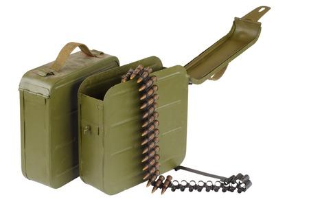 machine-gun: Soviet Maxim gun green ammunition box with machine-gun belt