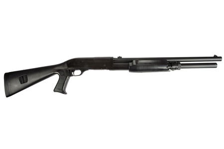action shot: semi-automatic pump action shotgun isolated on white Stock Photo