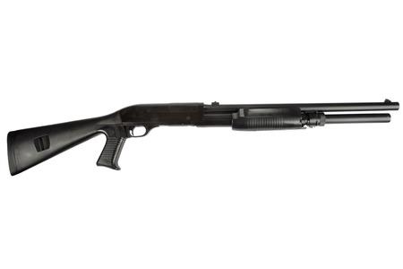 semi-automatic pump action shotgun isolated on white Stockfoto