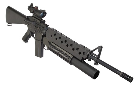 M16 rifle with an M203 grenade launcher  isolated on white background