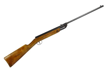 vintage rifle: old vintage pneumatic air rifle isolated on white background