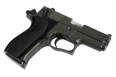moderm: 9mm handgun isolated on white