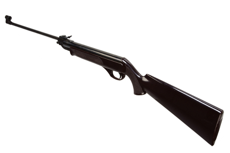 plastik: old pneumatic air rifle isolated on white background