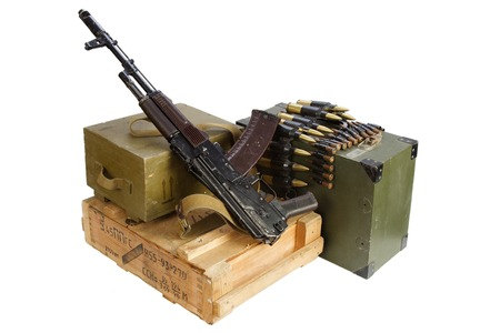 army box of ammunition with AK rifle and ammunition isolated Editorial