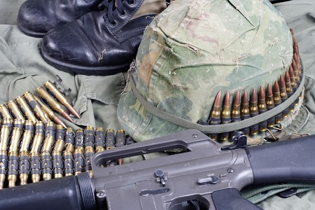 m16 ammo: US Army in Vietnam - Vietnam war period concept Stock Photo