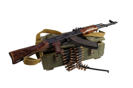 army box of ammunition with AK rifle and ammunition isolated Stock Photo