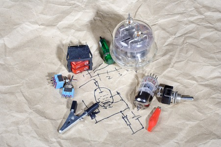 triode: Do it yourself - old retro radio electronic parts vintage background
