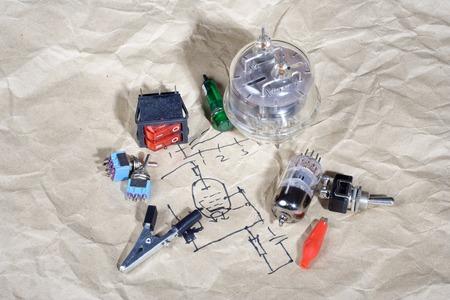 Do it yourself - old retro radio electronic parts vintage background