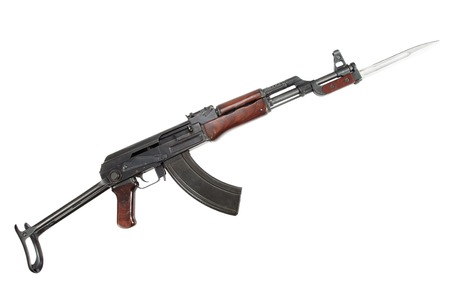 Rare first model AK - 47 assault rifle with bayonet isolated on white