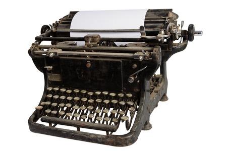 vintage retro typewriter isolated on white background