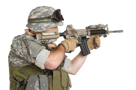 gi: US ARMY soldier with assault rifle on white background