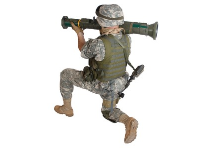US ARMY soldier with rocket launcher isolated on white