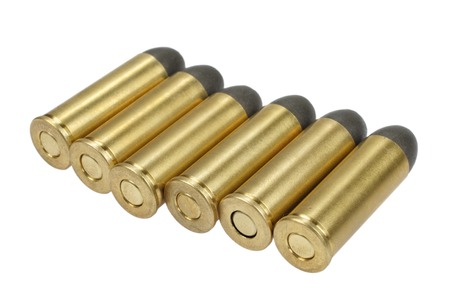 The .45 handgun cartridges dating to 1872 isolated on white
