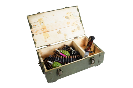 army box with ammunition isolated Stock Photo