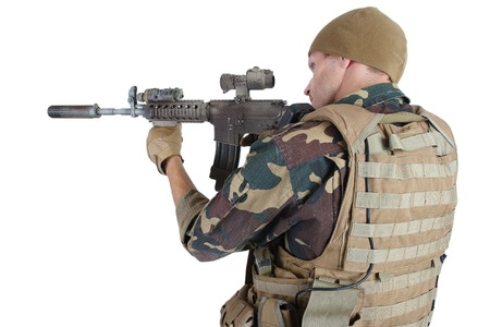 infantryman: Private Military Company operator with assault rifle on white background