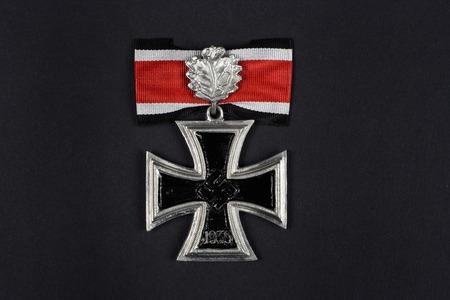 nazi: nazi german award - Iron Cross on black background