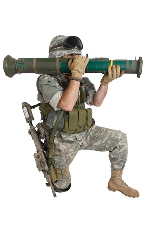 infantryman: US ARMY soldier with AT4 rocket launcher isolated on white Stock Photo