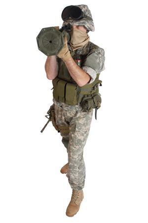 US ARMY soldier with AT4 rocket launcher isolated on white Stock Photo