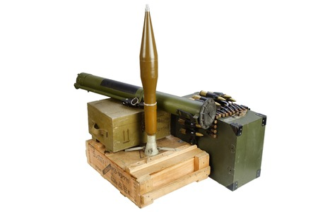 army box of ammunition with rocket-propelled grenade isolated