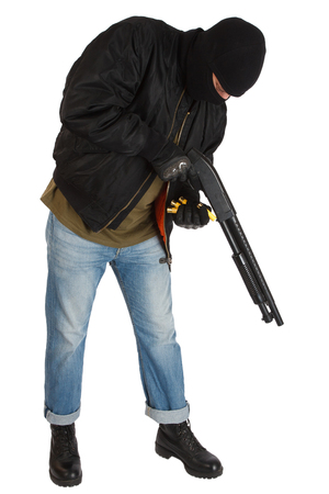 mobster: mobster in black mask with shotgun isolated