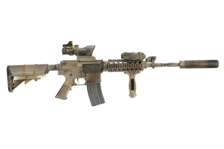 M4 with suppressor - special forces rifle isolated on a white background Stock Photo